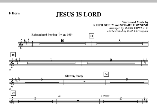 Mark Edwards Jesus Is Lord - F Horn sheet music notes and chords. Download Printable PDF.