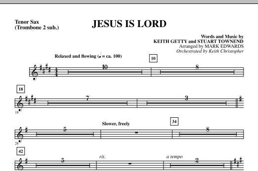 Mark Edwards Jesus Is Lord - Tenor Sax (sub. Tbn 2) sheet music notes and chords. Download Printable PDF.