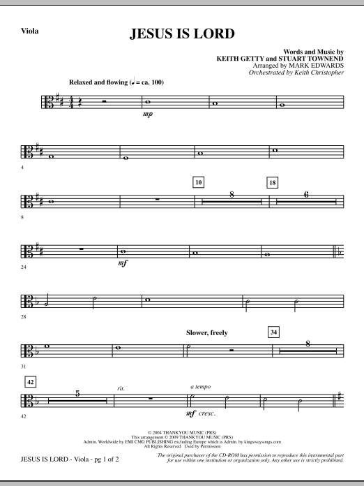 Mark Edwards Jesus Is Lord - Viola sheet music notes and chords. Download Printable PDF.