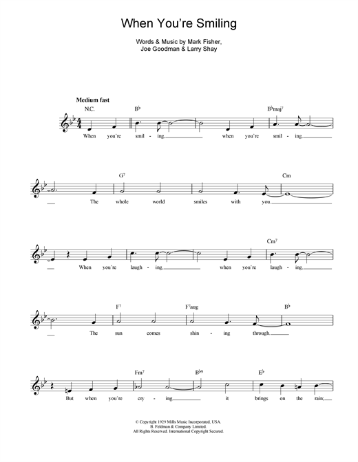 Mark Fisher When You're Smiling (The Whole World Smiles With You) sheet music notes and chords. Download Printable PDF.