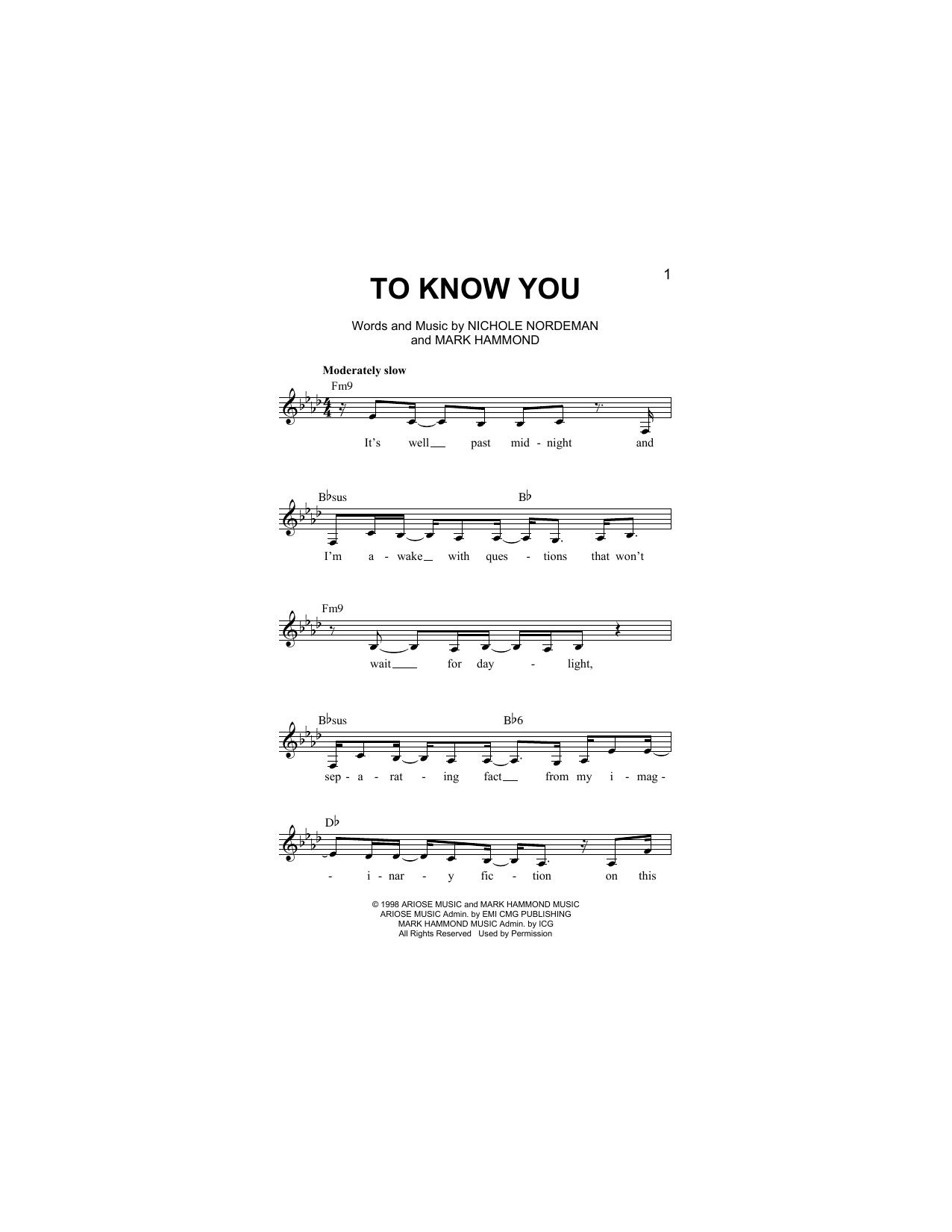Mark Hammond To Know You sheet music notes and chords. Download Printable PDF.