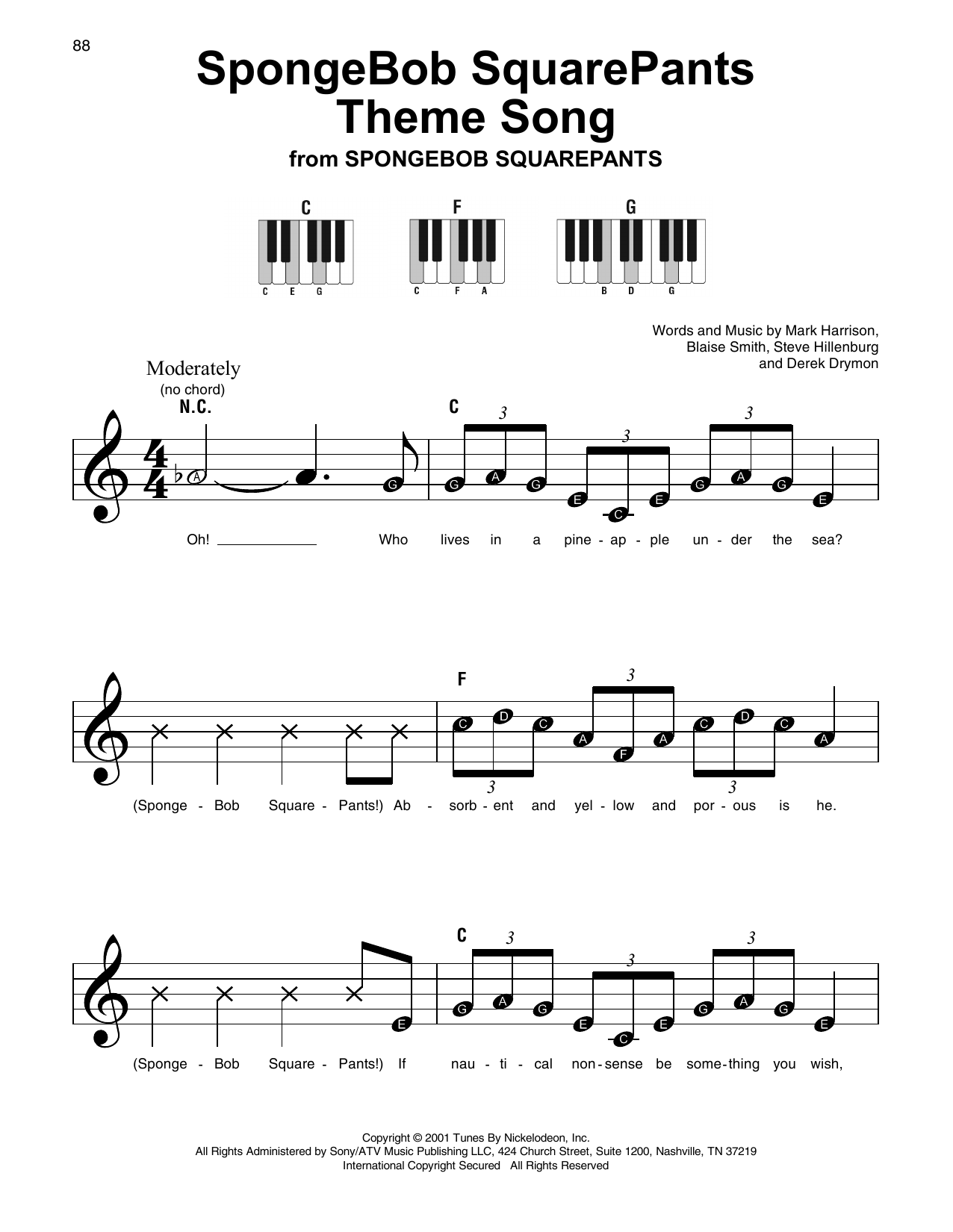Mark Harrison SpongeBob SquarePants Theme Song sheet music notes and chords. Download Printable PDF.