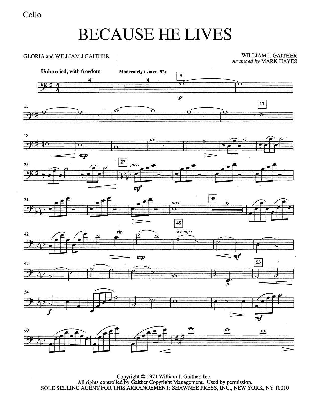 Mark Hayes Because He Lives - Cello sheet music notes and chords. Download Printable PDF.