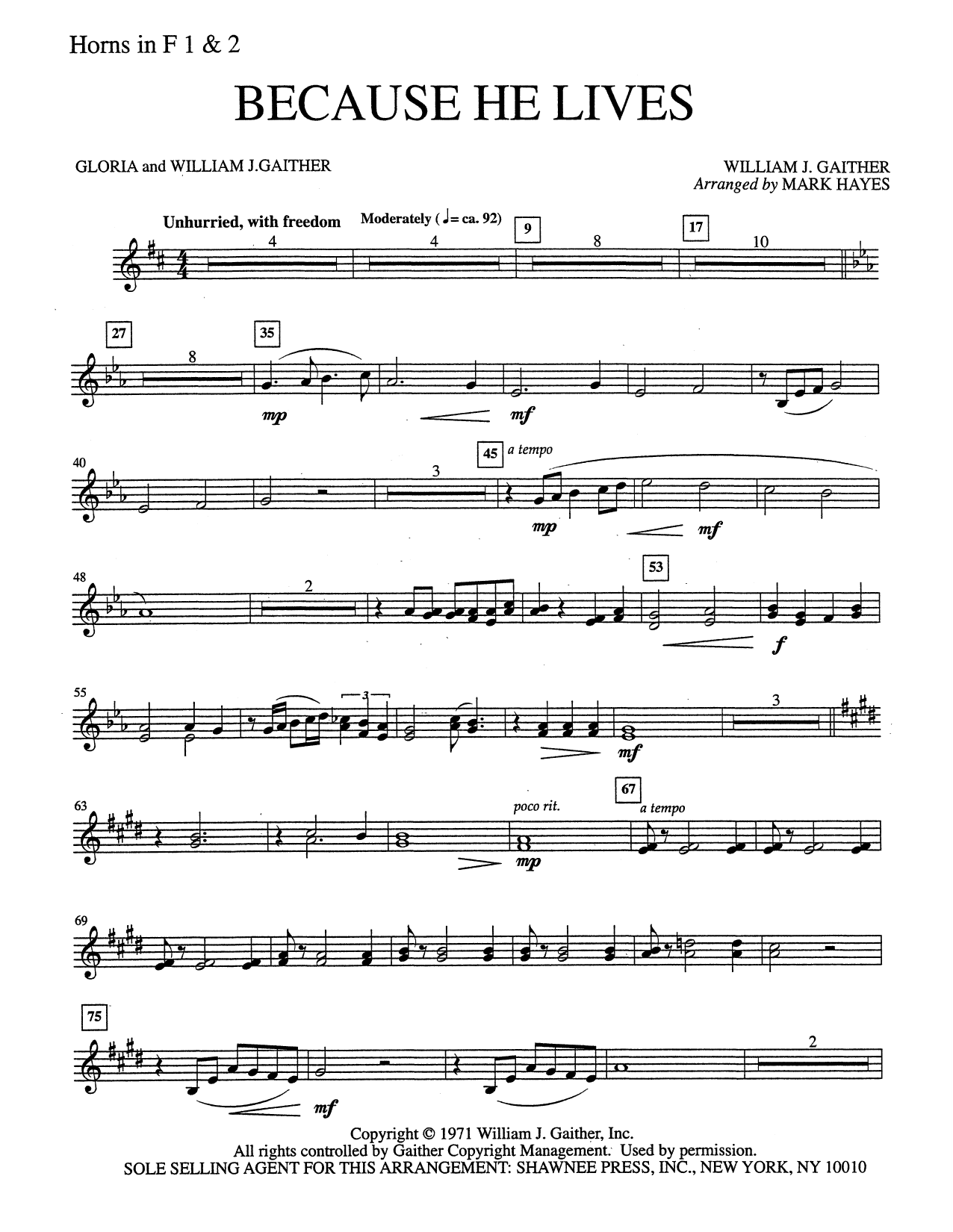 Mark Hayes Because He Lives - F Horn 1 & 2 sheet music notes and chords. Download Printable PDF.