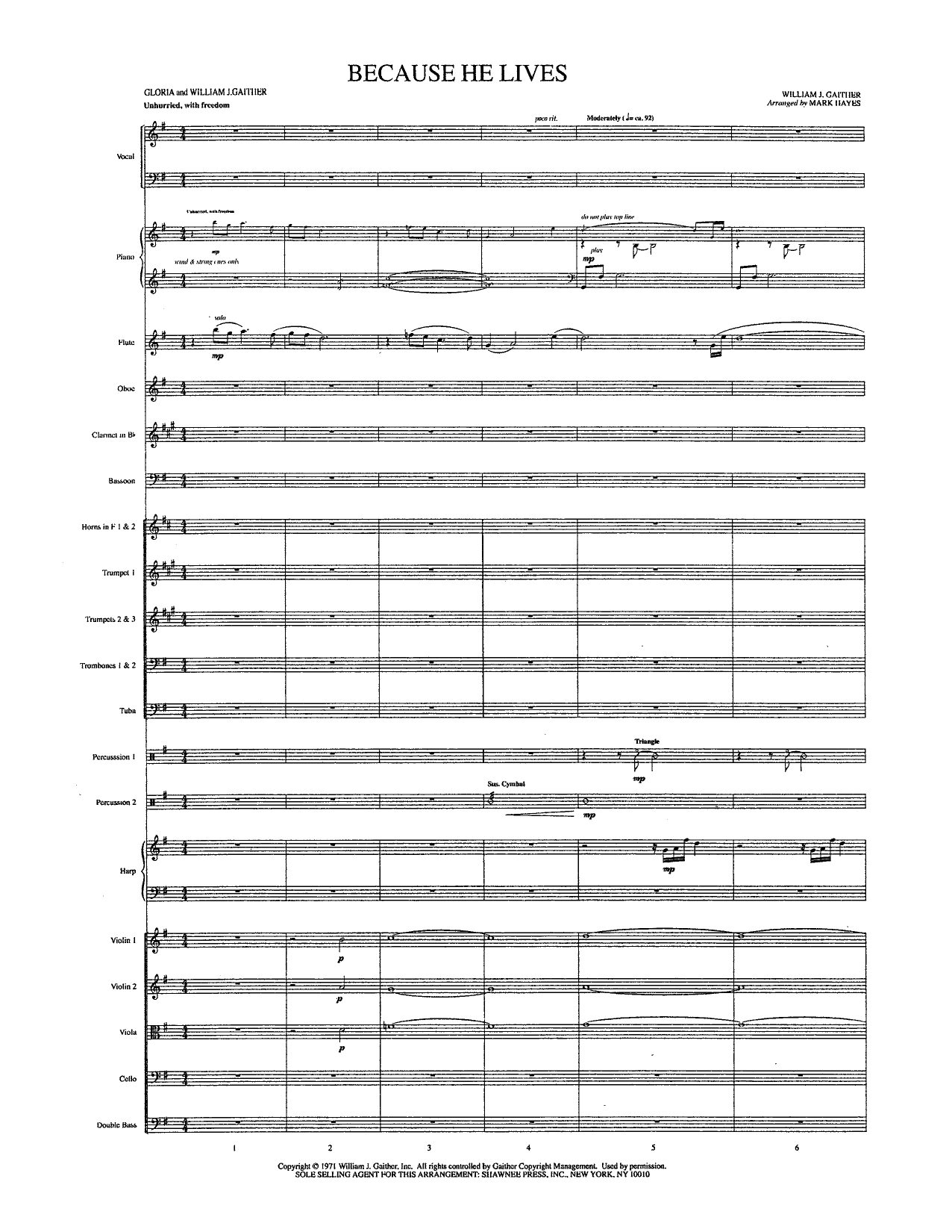 Mark Hayes Because He Lives - Full Score sheet music notes and chords. Download Printable PDF.