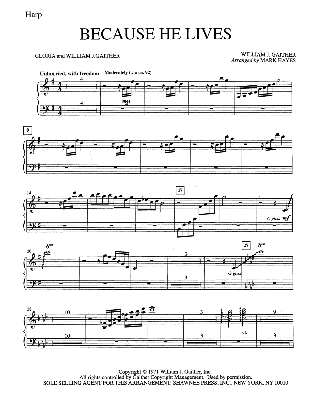 Mark Hayes Because He Lives - Harp sheet music notes and chords. Download Printable PDF.