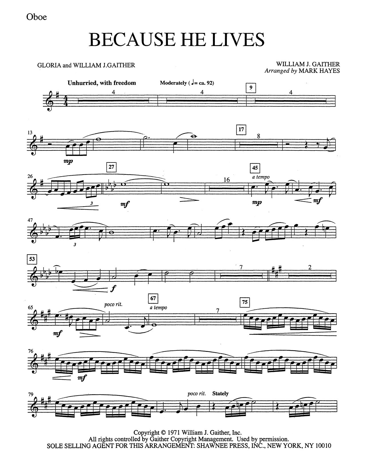 Mark Hayes Because He Lives - Oboe sheet music notes and chords. Download Printable PDF.
