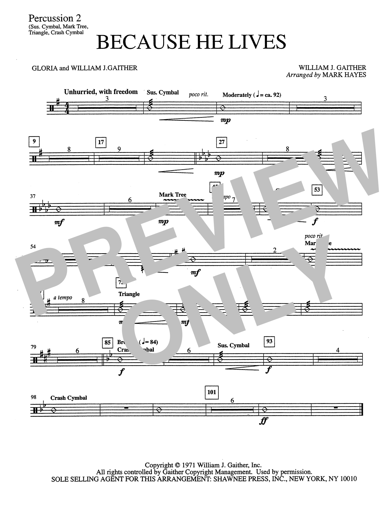 Mark Hayes Because He Lives - Percussion 2 sheet music notes and chords. Download Printable PDF.
