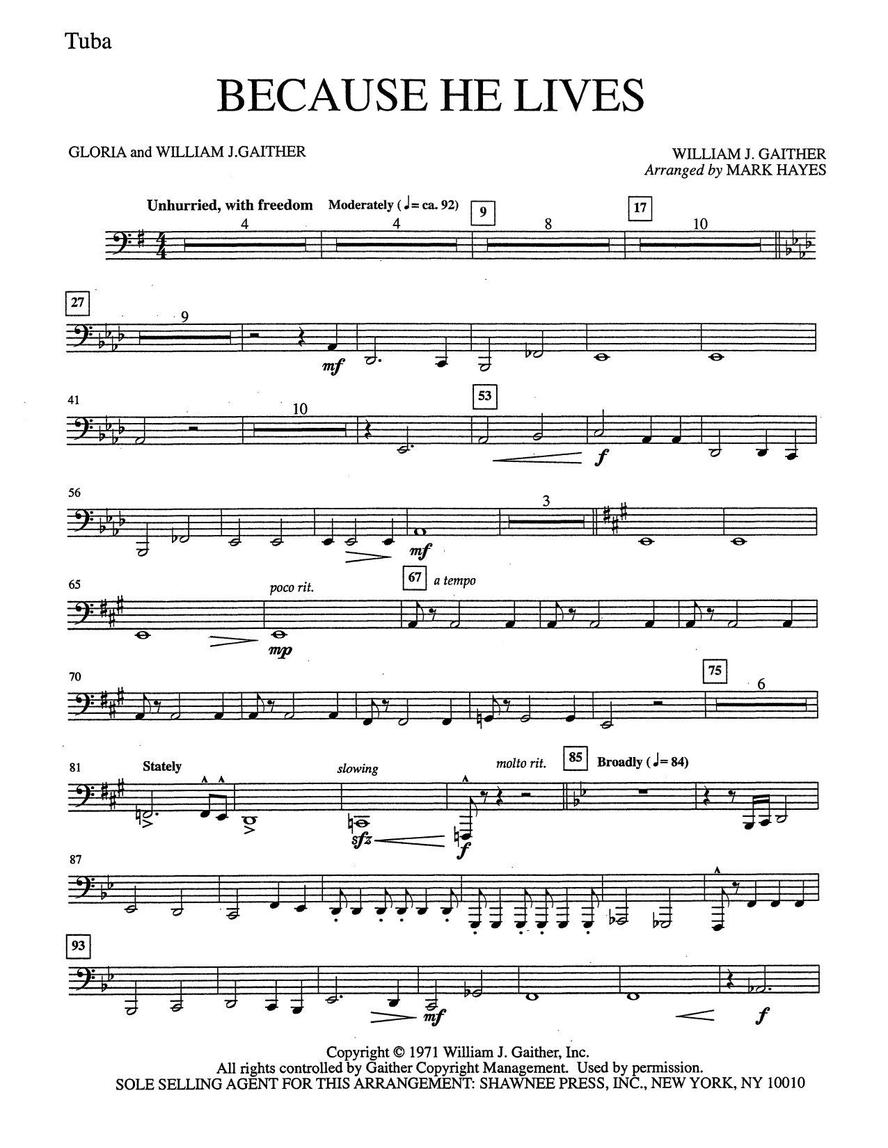 Mark Hayes Because He Lives - Tuba sheet music notes and chords. Download Printable PDF.