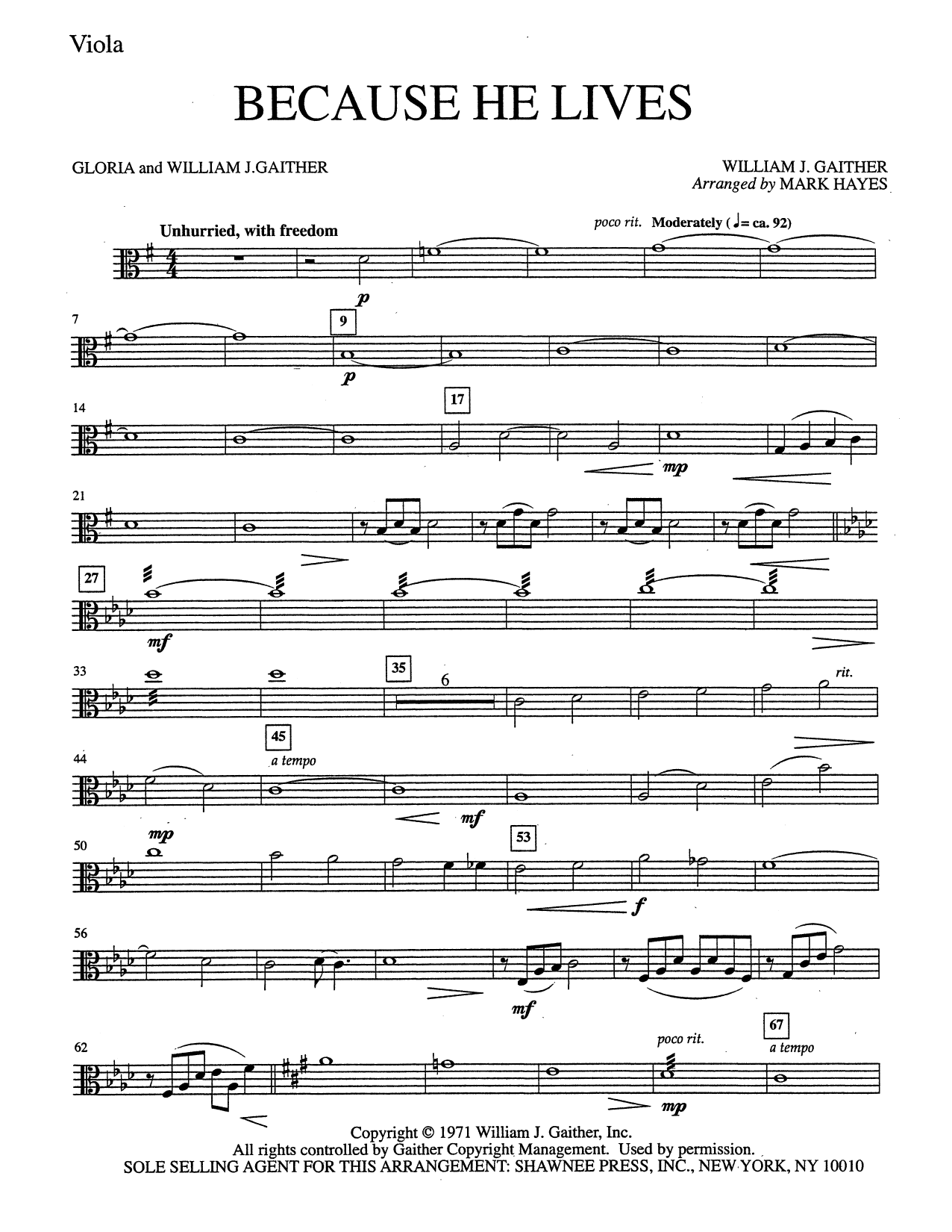 Mark Hayes Because He Lives - Viola sheet music notes and chords. Download Printable PDF.