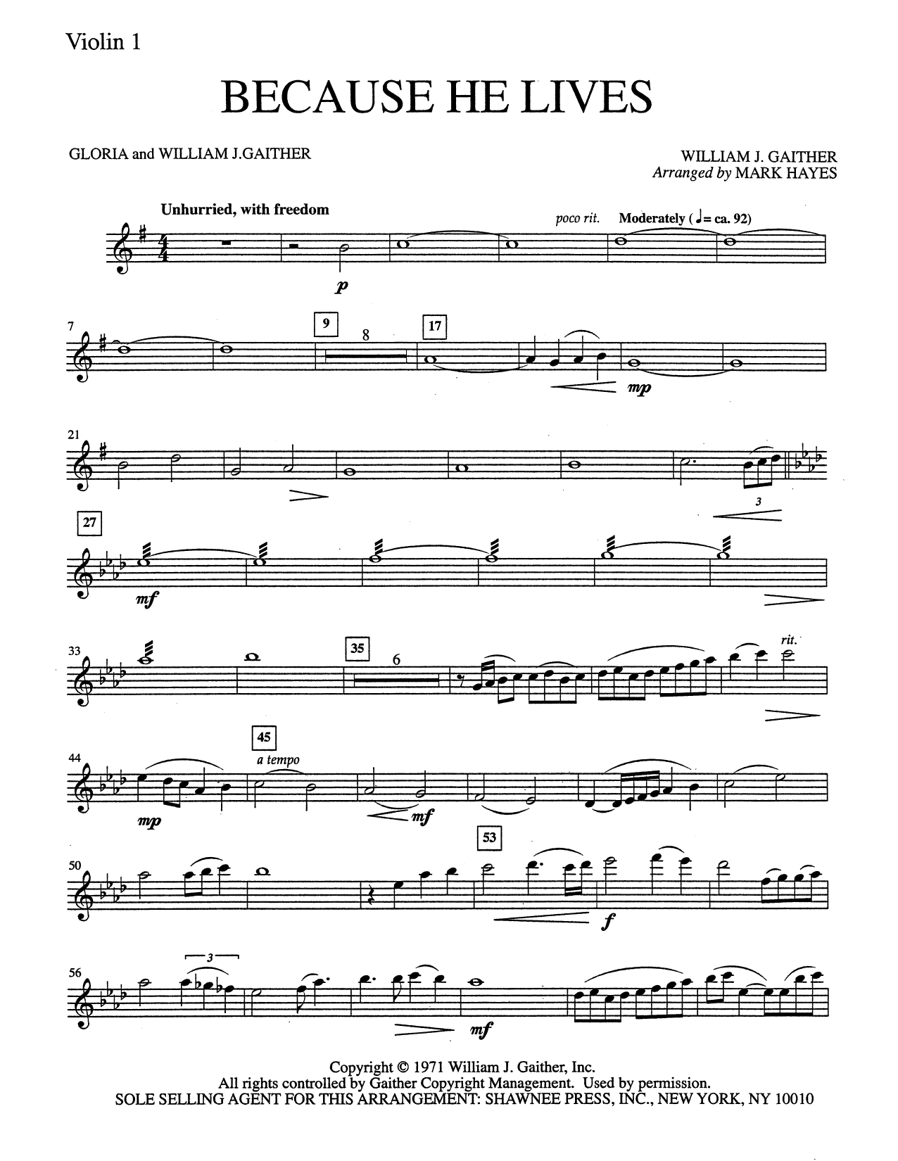 Mark Hayes Because He Lives - Violin 1 sheet music notes and chords. Download Printable PDF.