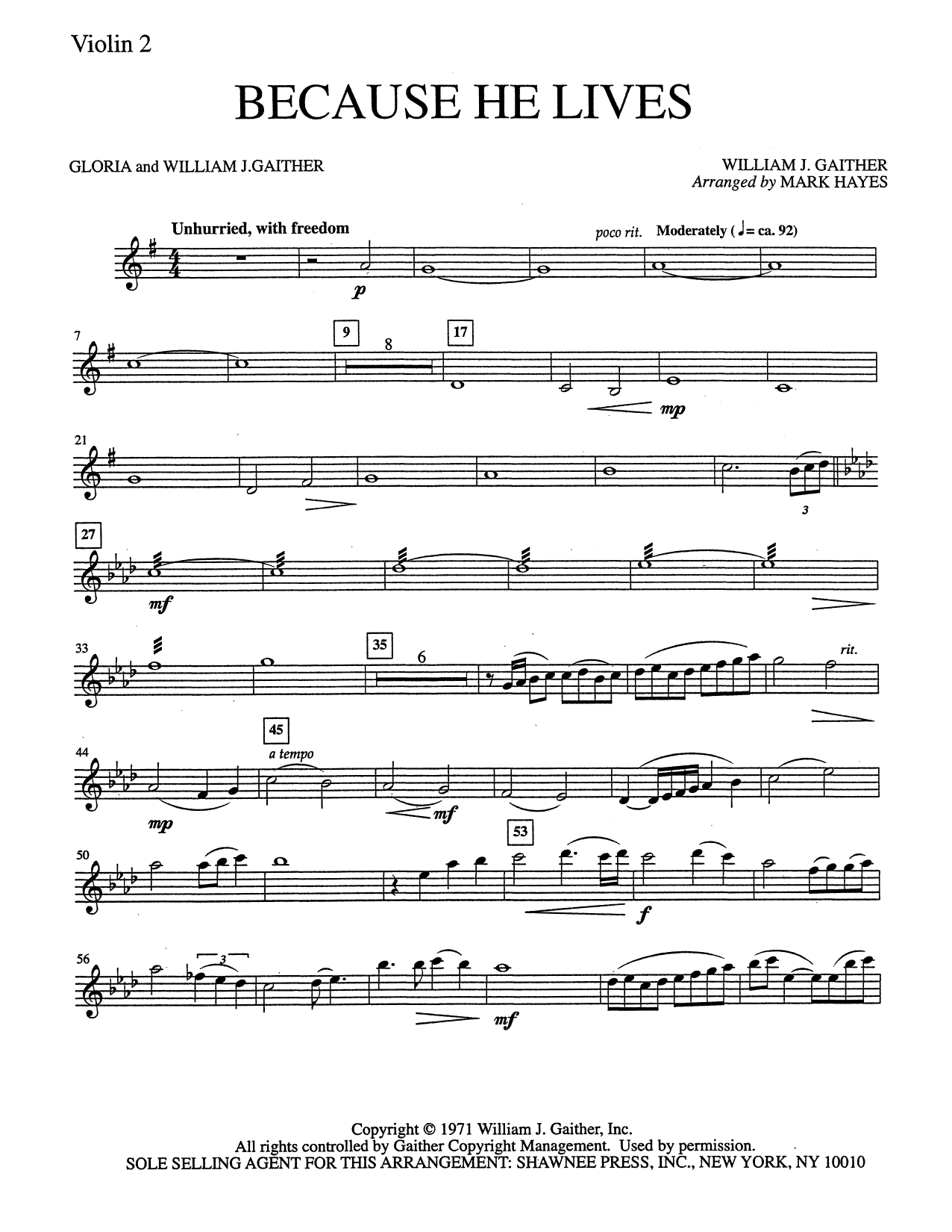 Mark Hayes Because He Lives - Violin 2 sheet music notes and chords. Download Printable PDF.