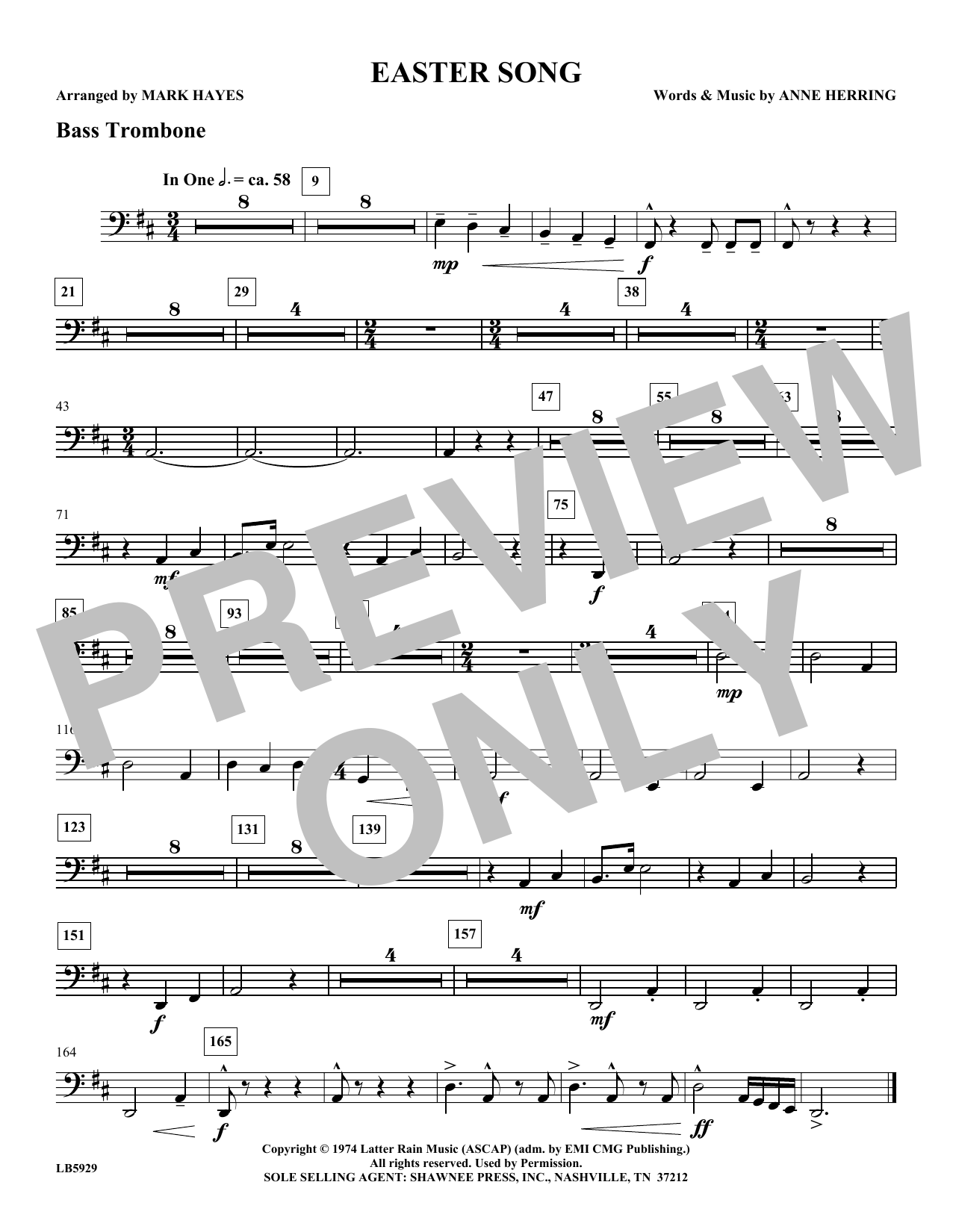 Mark Hayes Easter Song - Bass Trombone sheet music notes and chords. Download Printable PDF.