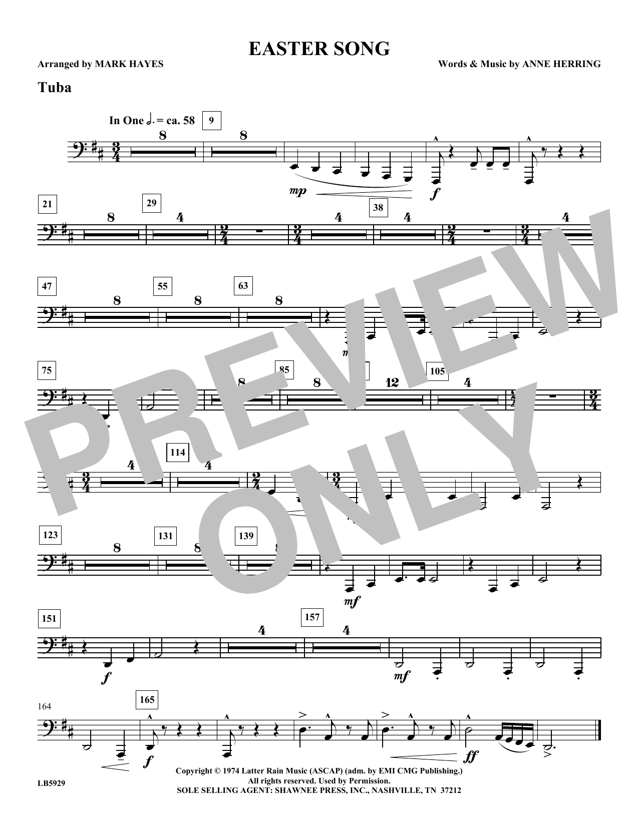 Mark Hayes Easter Song - Tuba sheet music notes and chords. Download Printable PDF.