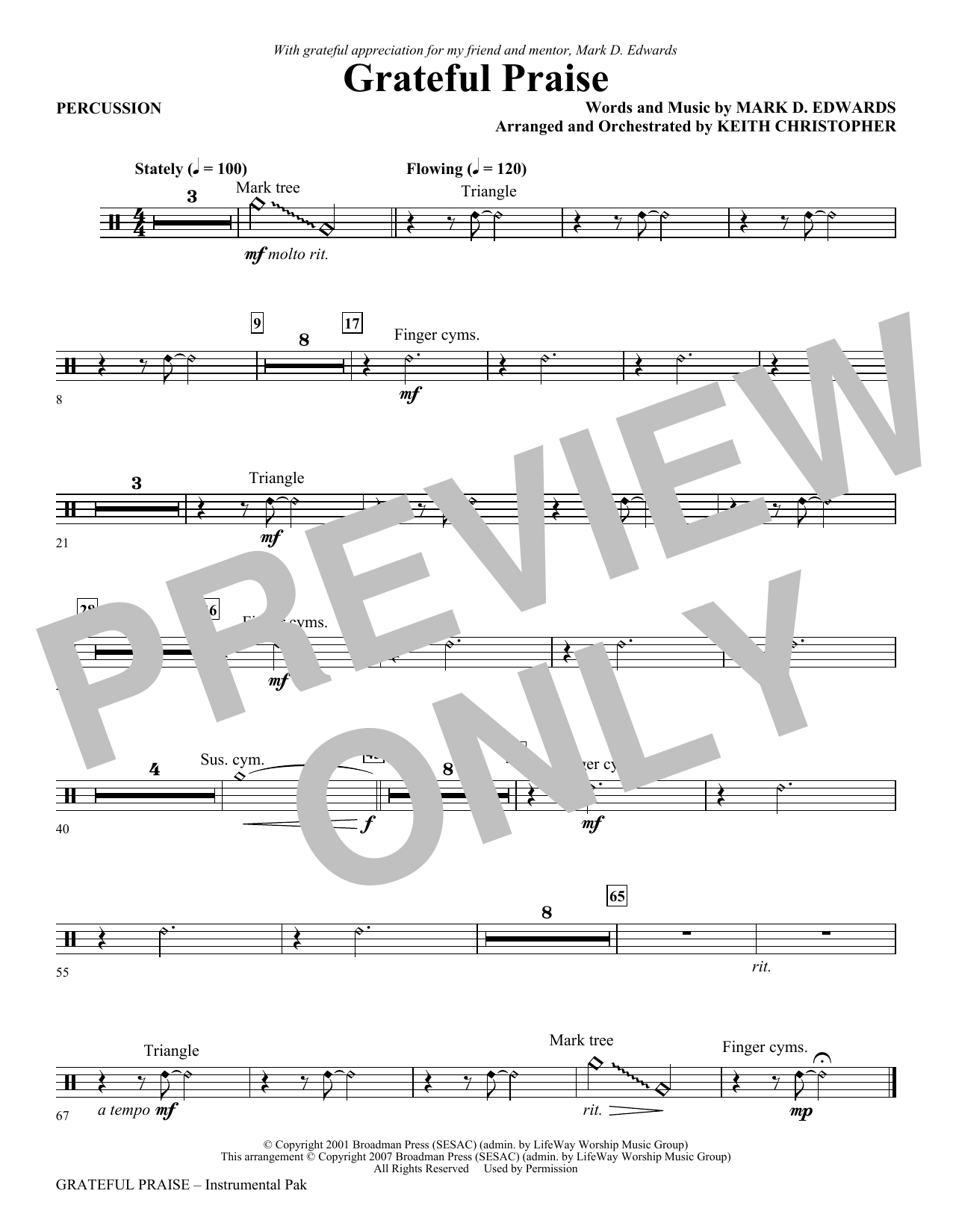 Mark Hayes Grateful Praise - Percussion sheet music notes and chords. Download Printable PDF.