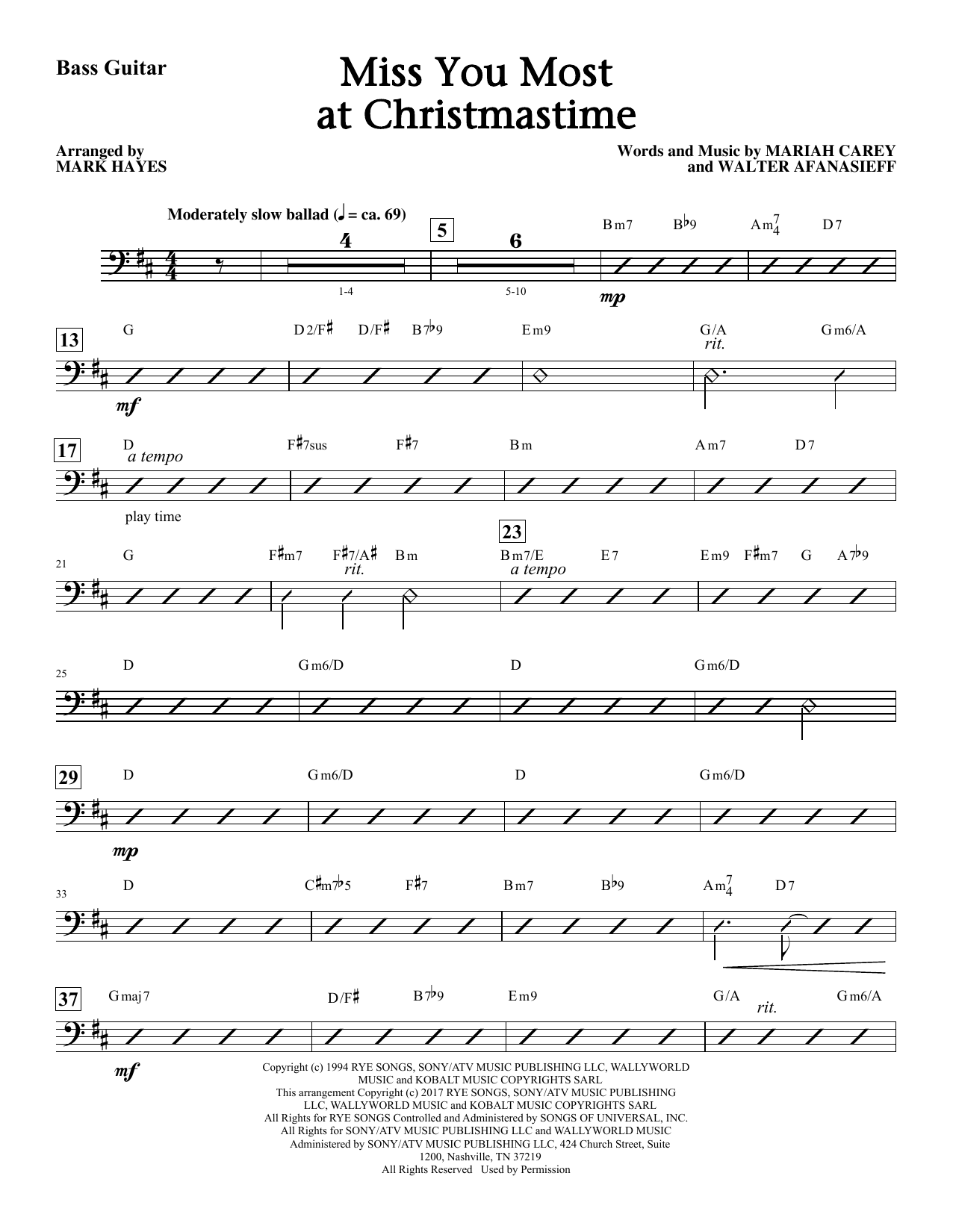 Mark Hayes Miss You Most At Christmas Time - Bass sheet music notes and chords. Download Printable PDF.