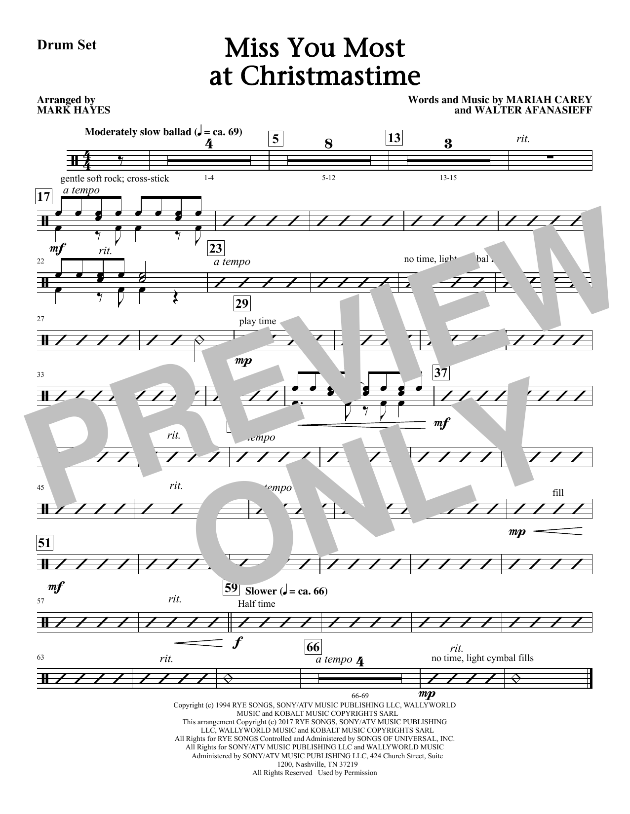 Mark Hayes Miss You Most At Christmas Time - Drums sheet music notes and chords. Download Printable PDF.