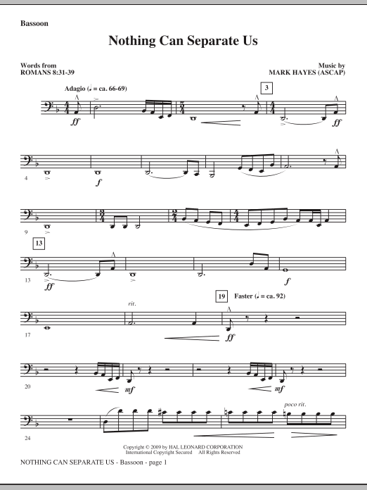 Mark Hayes Nothing Can Separate Us - Bassoon sheet music notes and chords. Download Printable PDF.