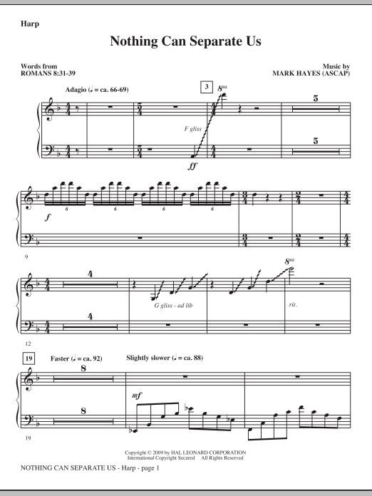 Mark Hayes Nothing Can Separate Us - Harp sheet music notes and chords. Download Printable PDF.