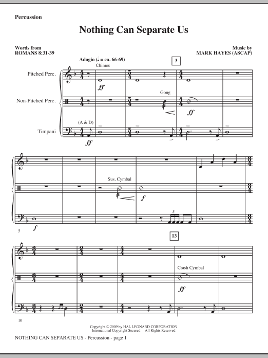Mark Hayes Nothing Can Separate Us - Percussion sheet music notes and chords. Download Printable PDF.