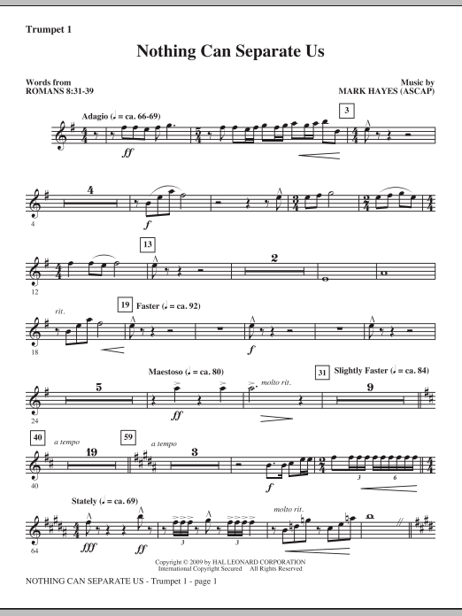 Mark Hayes Nothing Can Separate Us - Trumpet 1 sheet music notes and chords. Download Printable PDF.