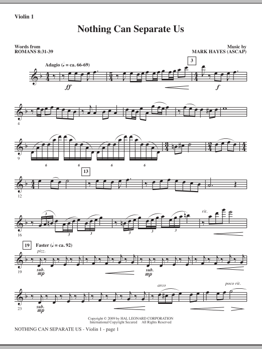 Mark Hayes Nothing Can Separate Us - Violin 1 sheet music notes and chords. Download Printable PDF.