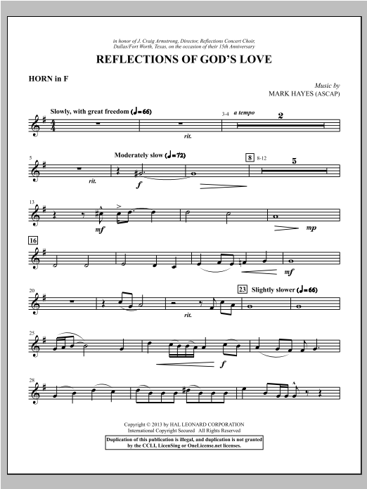 Mark Hayes Reflections of God's Love - F Horn sheet music notes and chords. Download Printable PDF.