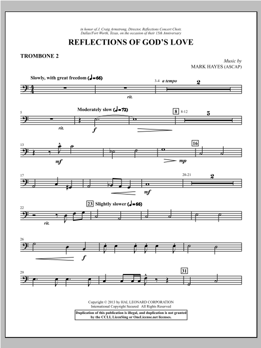 Mark Hayes Reflections of God's Love - Trombone 2 sheet music notes and chords. Download Printable PDF.
