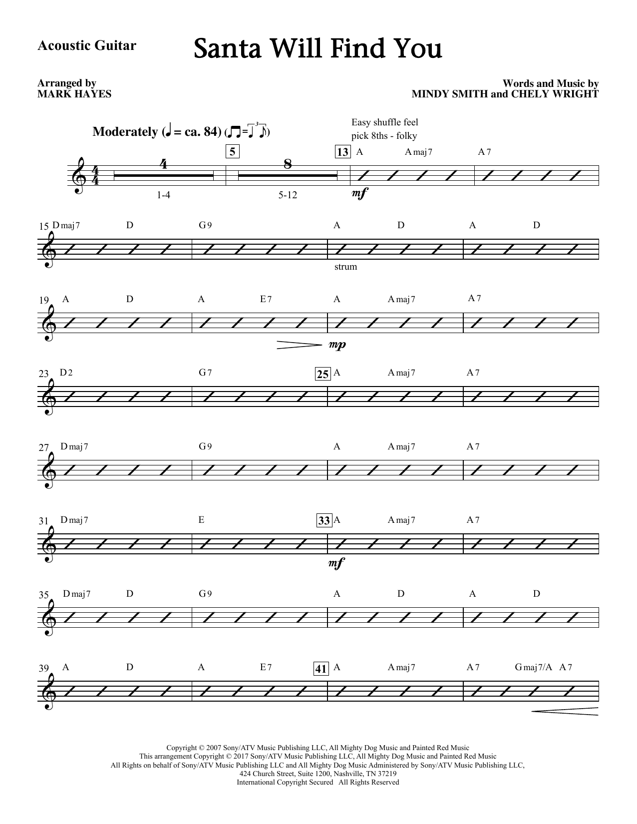 Mark Hayes Santa Will Find You - Acoustic Guitar sheet music notes and chords. Download Printable PDF.