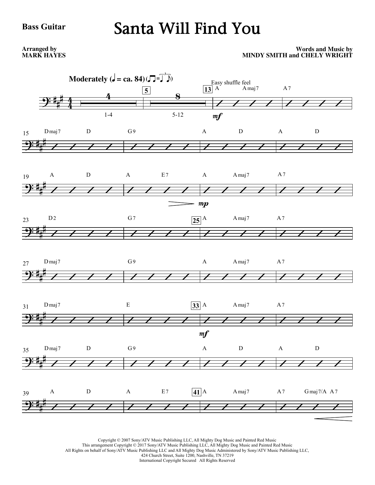 Mark Hayes Santa Will Find You - Bass sheet music notes and chords. Download Printable PDF.