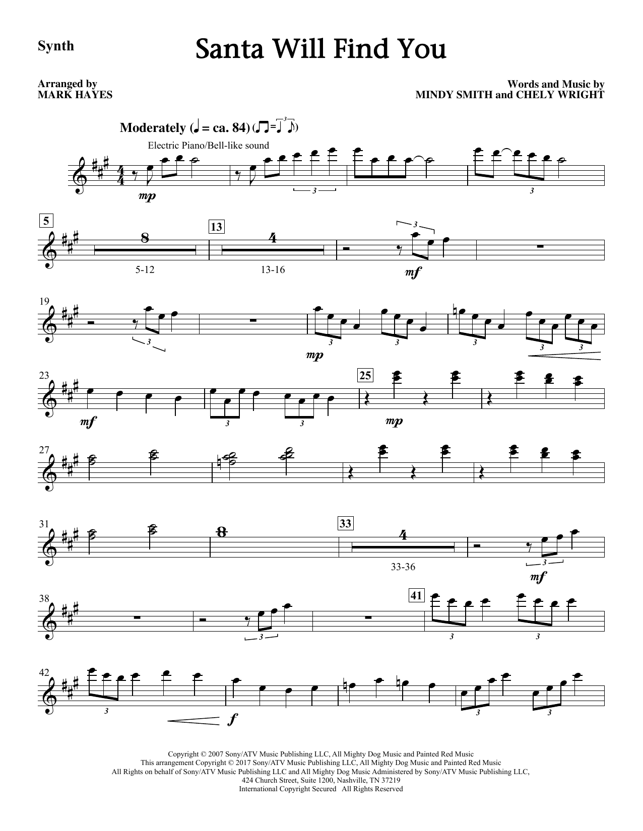 Mark Hayes Santa Will Find You - Synthesizer sheet music notes and chords. Download Printable PDF.