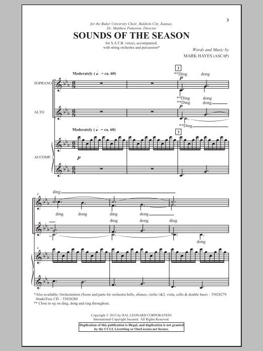 Mark Hayes Sounds Of The Season sheet music notes and chords. Download Printable PDF.