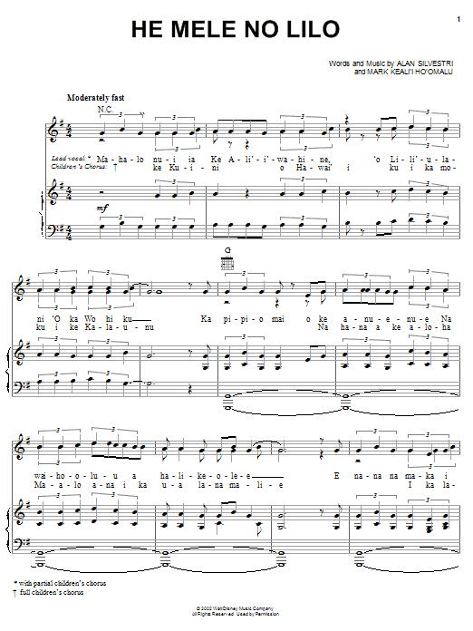 Mark Keali'i Ho'omalu He Mele No Lilo (from Lilo & Stitch) sheet music notes and chords