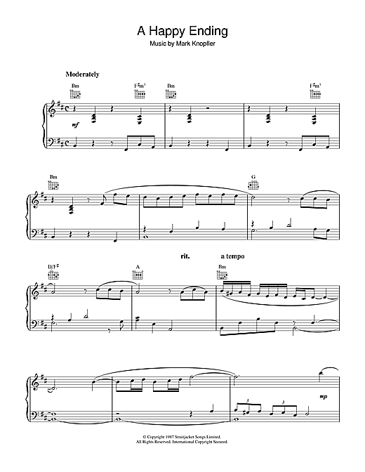 Mark Knopfler A Happy Ending (from The Princess Bride) sheet music notes and chords