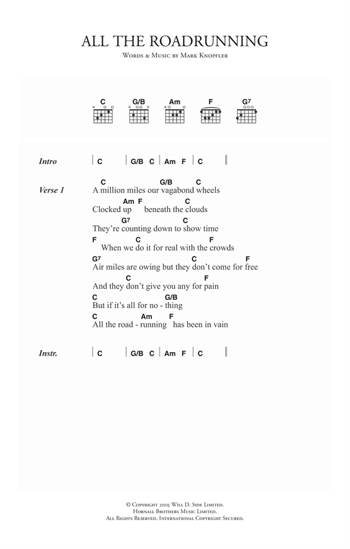 Mark Knopfler All The Roadrunning sheet music notes and chords. Download Printable PDF.