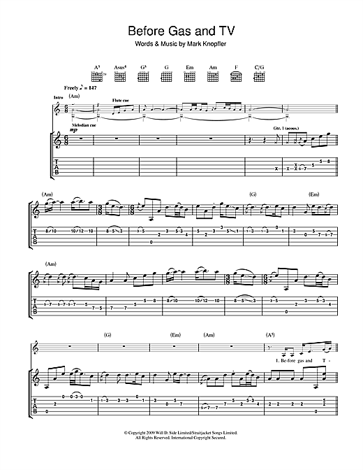 Mark Knopfler Before Gas & TV sheet music notes and chords. Download Printable PDF.