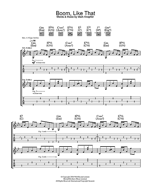 Mark Knopfler Boom, Like That sheet music notes and chords. Download Printable PDF.