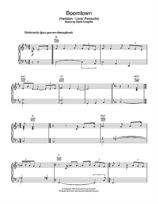 Mark Knopfler Boomtown (Variation - Louis' Favourite) (from Local Hero) sheet music notes and chords