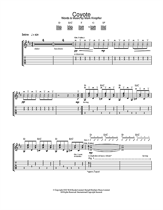 Mark Knopfler Coyote sheet music notes and chords. Download Printable PDF.