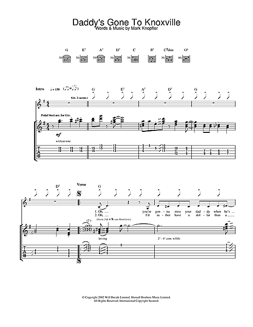 Mark Knopfler Daddy's Gone To Knoxville sheet music notes and chords. Download Printable PDF.