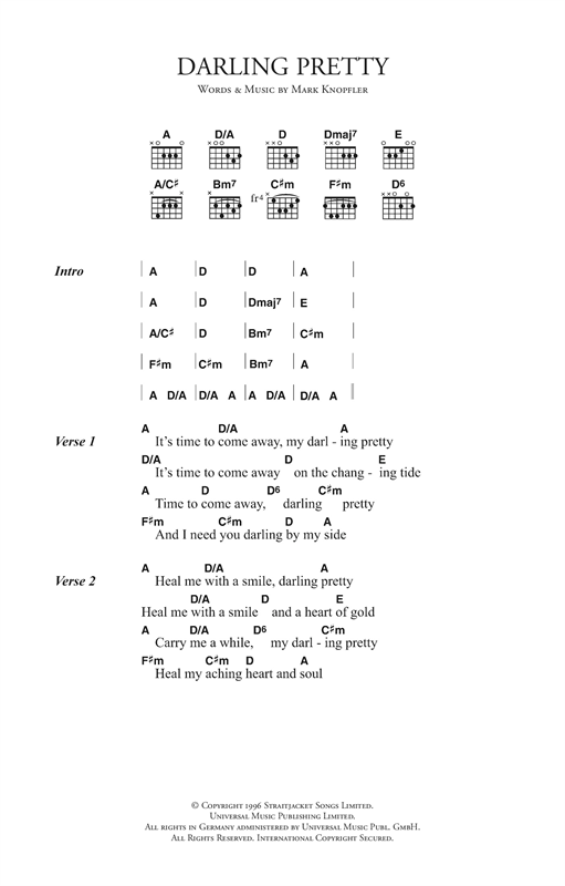 Mark Knopfler Darling Pretty sheet music notes and chords. Download Printable PDF.