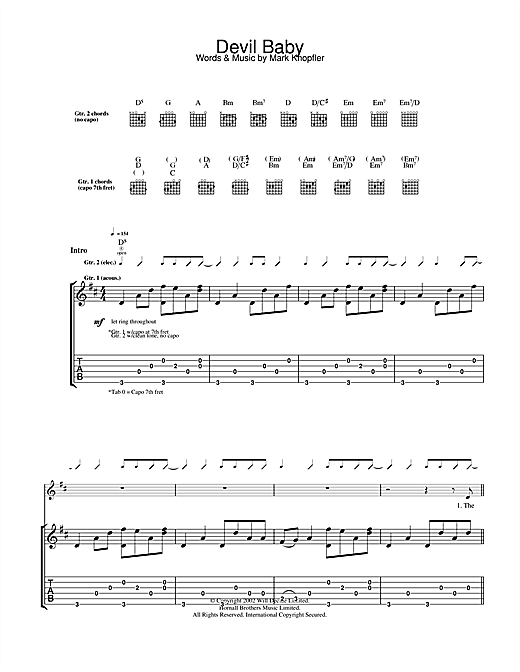 Mark Knopfler Devil Baby sheet music notes and chords. Download Printable PDF.