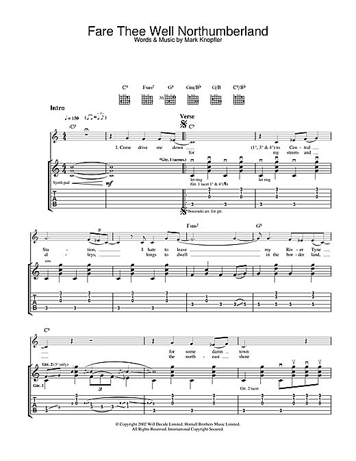 Mark Knopfler Fare Thee Well Northumberland sheet music notes and chords. Download Printable PDF.