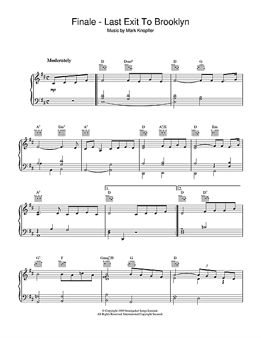 Mark Knopfler Finale - Last Exit To Brooklyn sheet music notes and chords. Download Printable PDF.