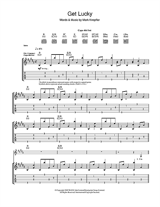 Mark Knopfler Get Lucky sheet music notes and chords. Download Printable PDF.