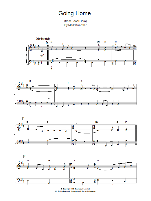 Mark Knopfler Going Home (theme from Local Hero) sheet music notes and chords. Download Printable PDF.