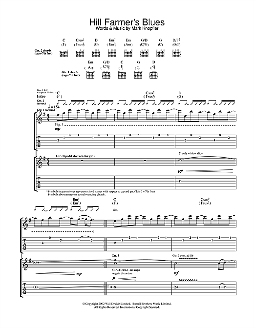 Mark Knopfler Hill Farmer's Blues sheet music notes and chords. Download Printable PDF.