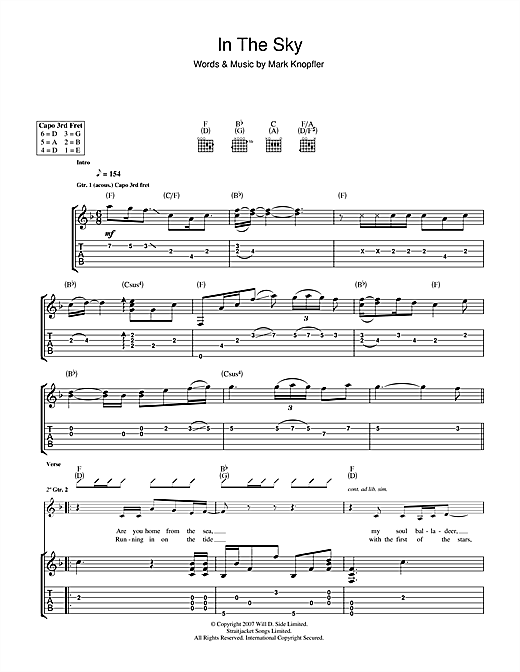 Mark Knopfler In The Sky sheet music notes and chords. Download Printable PDF.