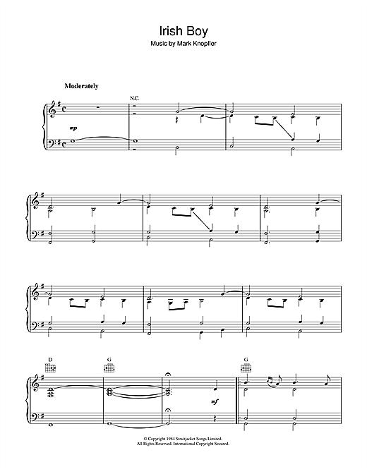 Mark Knopfler Irish Boy (from Cal) sheet music notes and chords