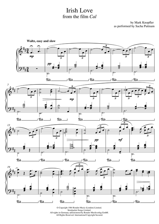 Mark Knopfler Irish Love (from Cal) (as performed by Sacha Puttnam) sheet music notes and chords